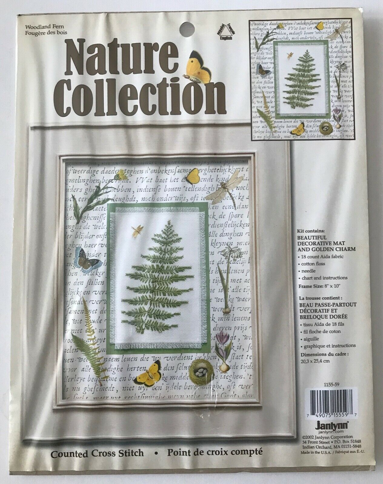 Janlynn Woodland Fern Counted Cross Stitch Kit 1155-59 + Golden Charm 2002 NIP