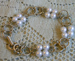 Vintage Signed GOLDETTE NY - Goldtone Round LINK and Faux PEARLS BRACELET - 7 ""