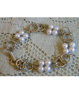 Vintage Signed GOLDETTE NY - Goldtone Round LINK and Faux PEARLS BRACELE... - £36.24 GBP