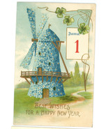Best Wishes Happy New Year vintage Victorian greeting postcard windmill ... - $7.50
