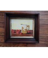 Still Life 80's Oil Painting in Antique Deep Walnut Frame . signed E Ledley - $125.00