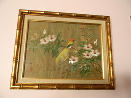 Gouache Watercolor Painting . Oriental Bird & Flower - $150.00