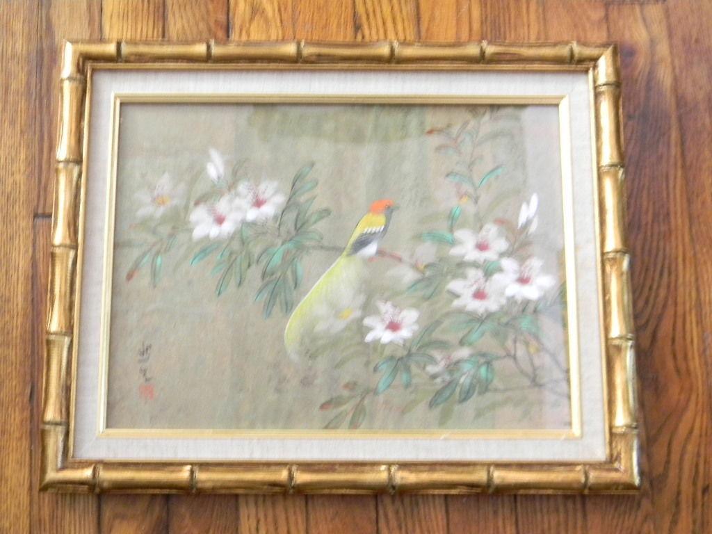 Gouache Watercolor Painting . Oriental Bird & Flower