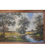 """B M  Brown . Large 44 """" x 32 """" framed oil painting on canvas Landscape .... - $1,200.00"""