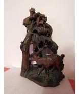 """Black Forest . 19 1/2"""" Carved Wood Sculpture . Deer, Owl, Bird, Squirrel... - $750.00"""