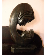 Wood Carved Sculpture Carving . Mother with Child - $99.00