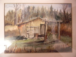 Signed . Watercolor Painting .  Country Shed - $95.00