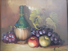 Signed . Still Life Painting - Wine Bottle, Grapes, Apples - $125.00