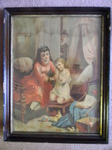 Victorian Chromolithograph in Deep Walnut Frame - Young Child Learning t... - $150.00