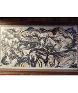 Woodcut 4 / 7  of Horses . Signed . Connie Eshelman - $995.00