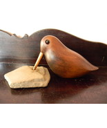 Wood Carved Bird Carving Sculpture , with Drilled Stone for His Beak - $95.00