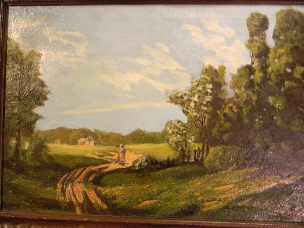 Brown 27 x 19 vintage framed oil painting on canvas for Oil painting scenery