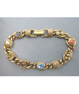 Vintage Signed GOLDETTE Jeweled Rhinestone and Faux Pearl BRACELET - 7 1... - £49.71 GBP