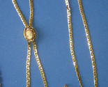 Vintage Signed GOLDETTE LARIAT NECKLACE with a Faux CAMEO SLIDE - 32 inches
