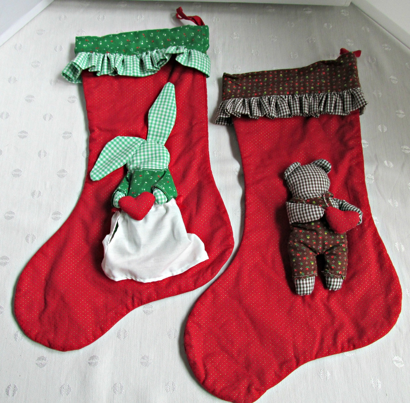 xmasstockings10 xmasstockings10 cotton christmas stockings pair boy girl rabbits red green handmade vintage - Red And Green Christmas Stockings