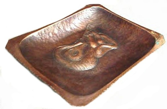 Old Hand Hammered Copper Mermaid Danish Modern Art Tray