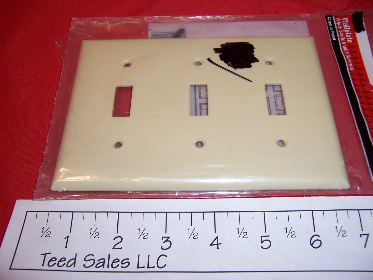Lot of 5 Ivory 3 gang Toggle Switch Wall Plate