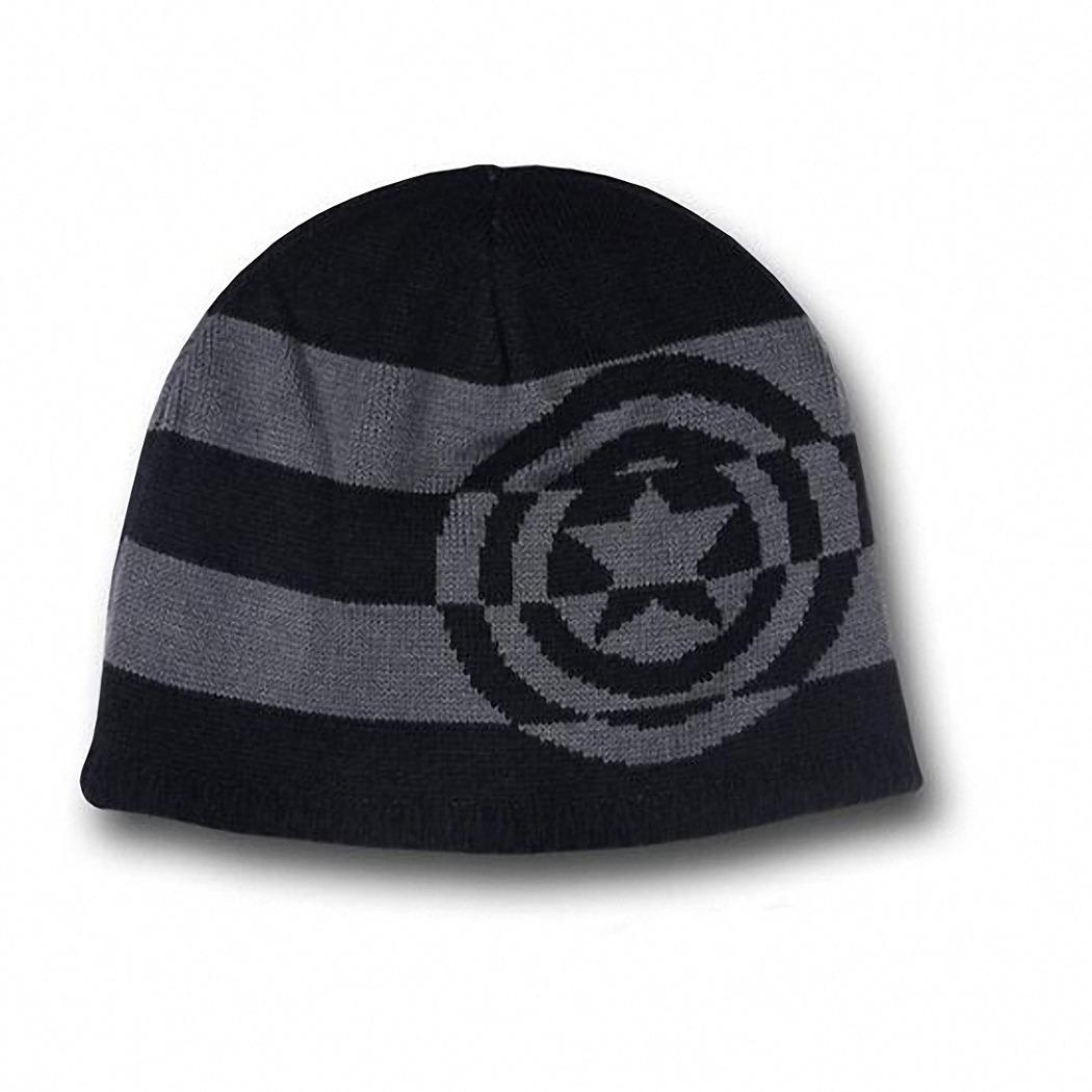 Captain America Lineart / Shield Stripes Reversible Beanie Hat *NEW*