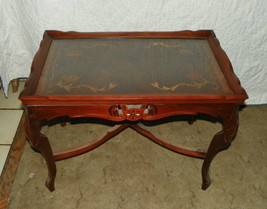 Mahogany Carved Inlaid Coffee Table with Glass Serving Tray  (CT23) - $499.00