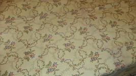 Greenish Yellow Flower Print Upholstery Fabric Remnant  F1225 - $29.95