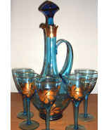 Wine decanter & 5 glasses with gold trim - $80.00