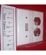 2 Gang Steel Wall Plate 1 toggle Switch/ 1 Duplex Outlet White 8WS106 Lo... - $7.13