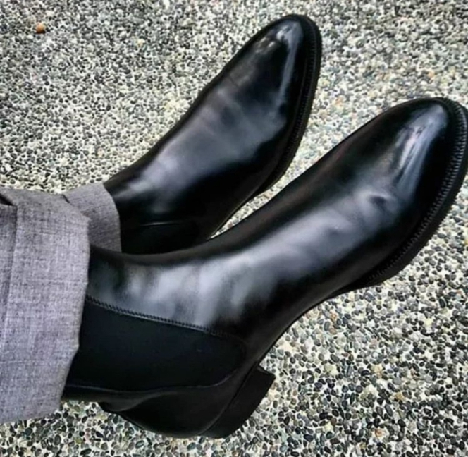 Handmade Men's Black High Ankle Dress/Formal Chelsea Style Leather Boots