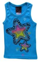 Girls Rule Size 4 Girls Aqua Blue Zebra Print Star and Studs Ribbed Tank... - $2.99