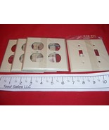 Lot of 4 Steel Wall Plates Ivory 3 Double Duplex/1 Double To - $6.11