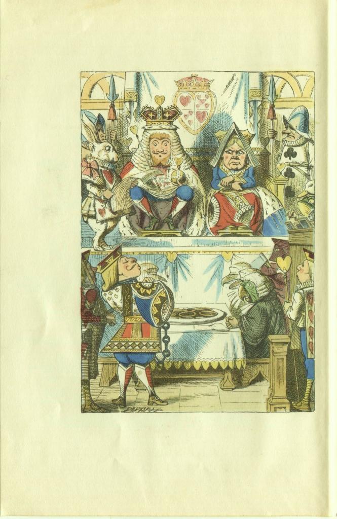 Alice in Wonderland. John Tenniel. Trial of Knave of Hearts. Vintage 1946 Print.