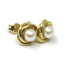 18K YELLOW GOLD PEARL BUTTON EARRINGS, 11 MM, 0.43 INCHES, FLOWER BRAIDED SPIRAL image 2