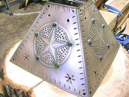 Brushed Tin Punch Lamp Shade Star Beads square Western Med bz - $84.98