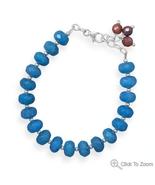 Handcrafted Blue Quartz and Ruby Bead Bracelet - $1.046,94 MXN