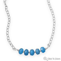 Handcrafted Blue Quartz Rondell Bead Necklace - $91.98