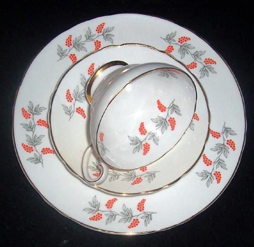 Vintage Crown Staffordshire TRIO Fine Bone China Cup & Saucer Dessert Set - $12.00