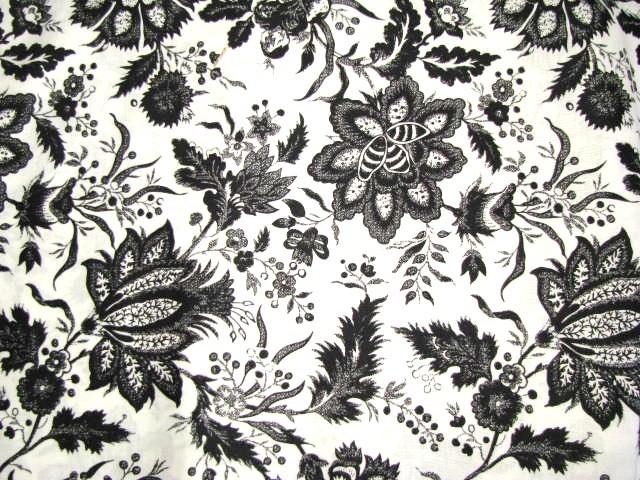 David textiles black flowers on white 1