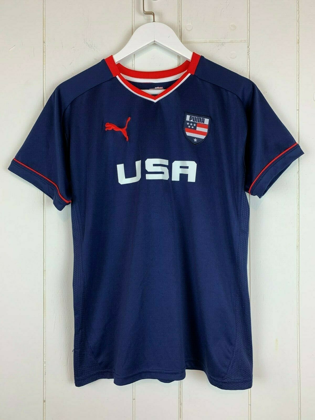 Primary image for USA Soccer Team Jersey Shirt Puma Boys XL Extra Large Navy Blue Red White Patch