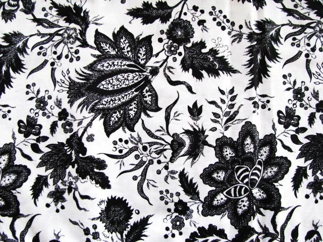David Textiles Black  Flowers on White Cotton Fabric  3 yards