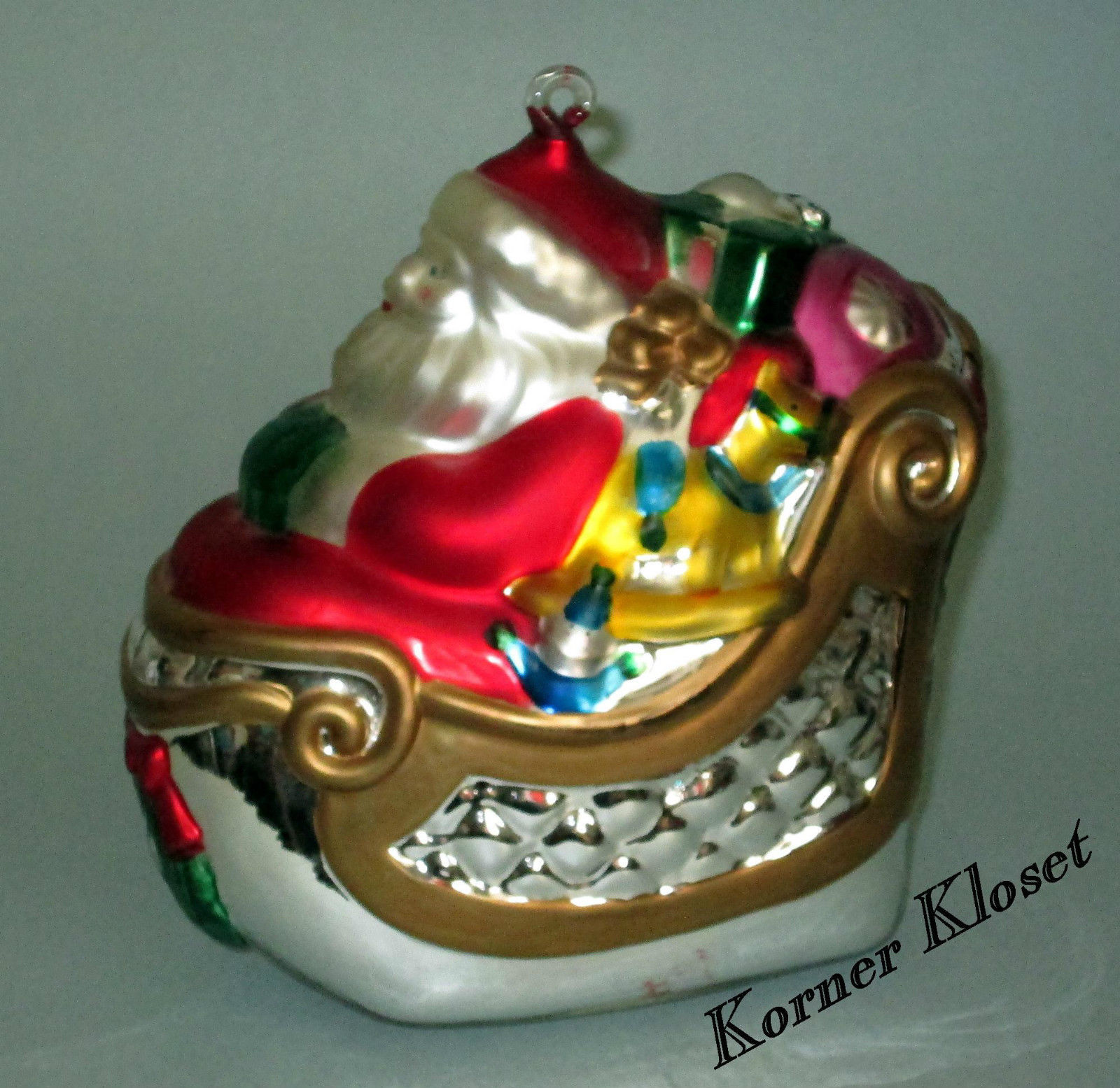 Primary image for Department 56 Mercury Glass Santa in Sleigh Ornament 1996 - Dept 56 - MIB