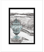 Belvedere at Boscobel, Hudson River, Pen and Ink Print - $24.00
