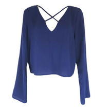 Forever 21 Blue Crop long sleeve Shirt Size M - $10.79