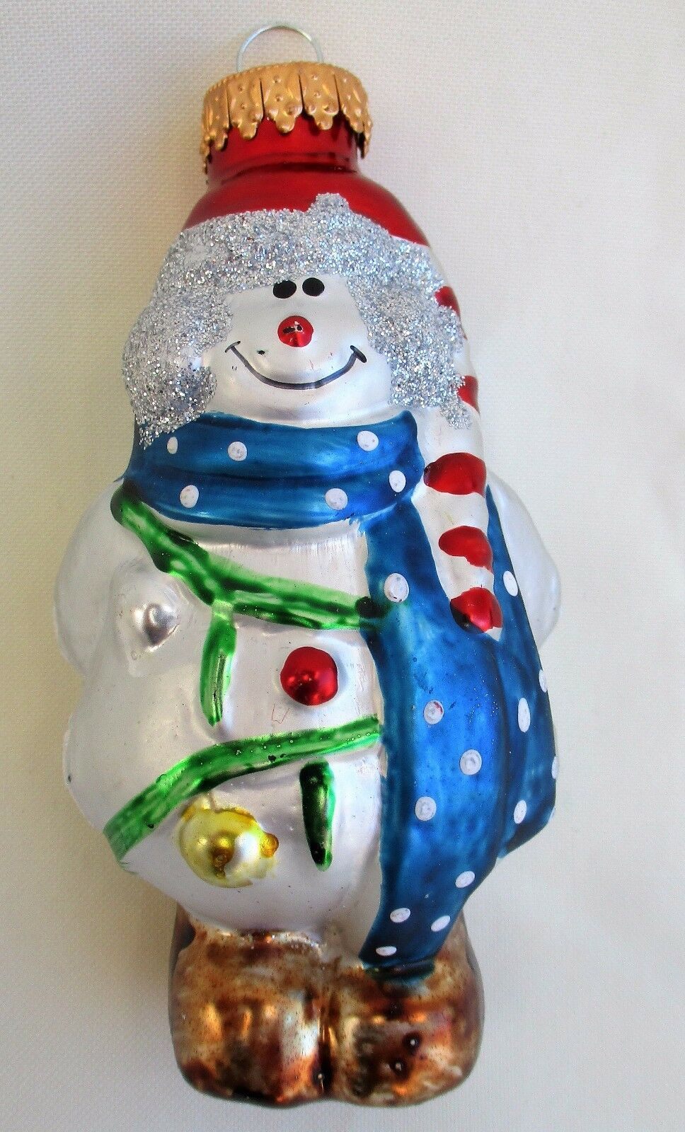 Primary image for G&D Snowman Glass Christmas Ornament EUC