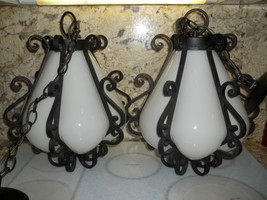 Murano Art Glass Hanging Swag chain Lamps cast ... - $445.00