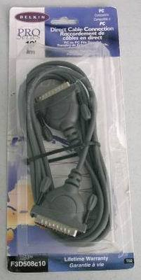 PC File Transfer DB25 Male Belkin Pro Direct Cable 10 ft Parallel Port