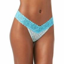 No Boundaries Women's Lace Thong Panties Size 2XL Blue Floral Lace V Tho... - $11.38