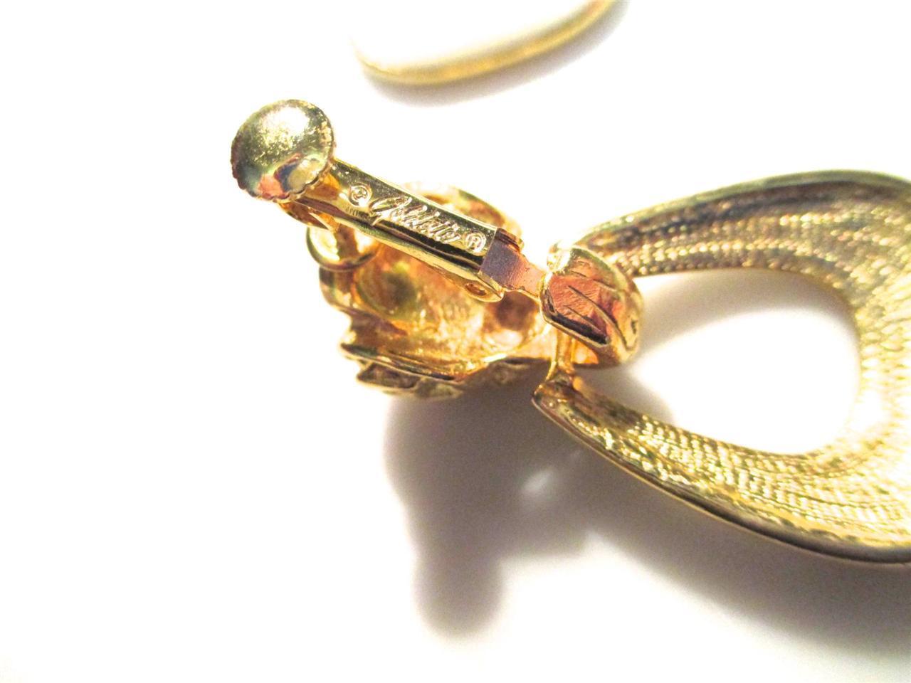 Vintage Signed GOLDETTE Ram Head Goldtone and Enamel Clip Back EARRINGS image 3