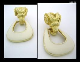 Vintage Signed GOLDETTE Ram Head Goldtone and Enamel Clip Back EARRINGS image 2
