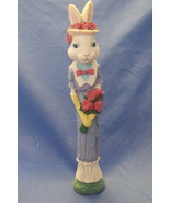 Easter Figurine White Blue Girl Pencil Bunny Rabbit with Flowers - $12.95