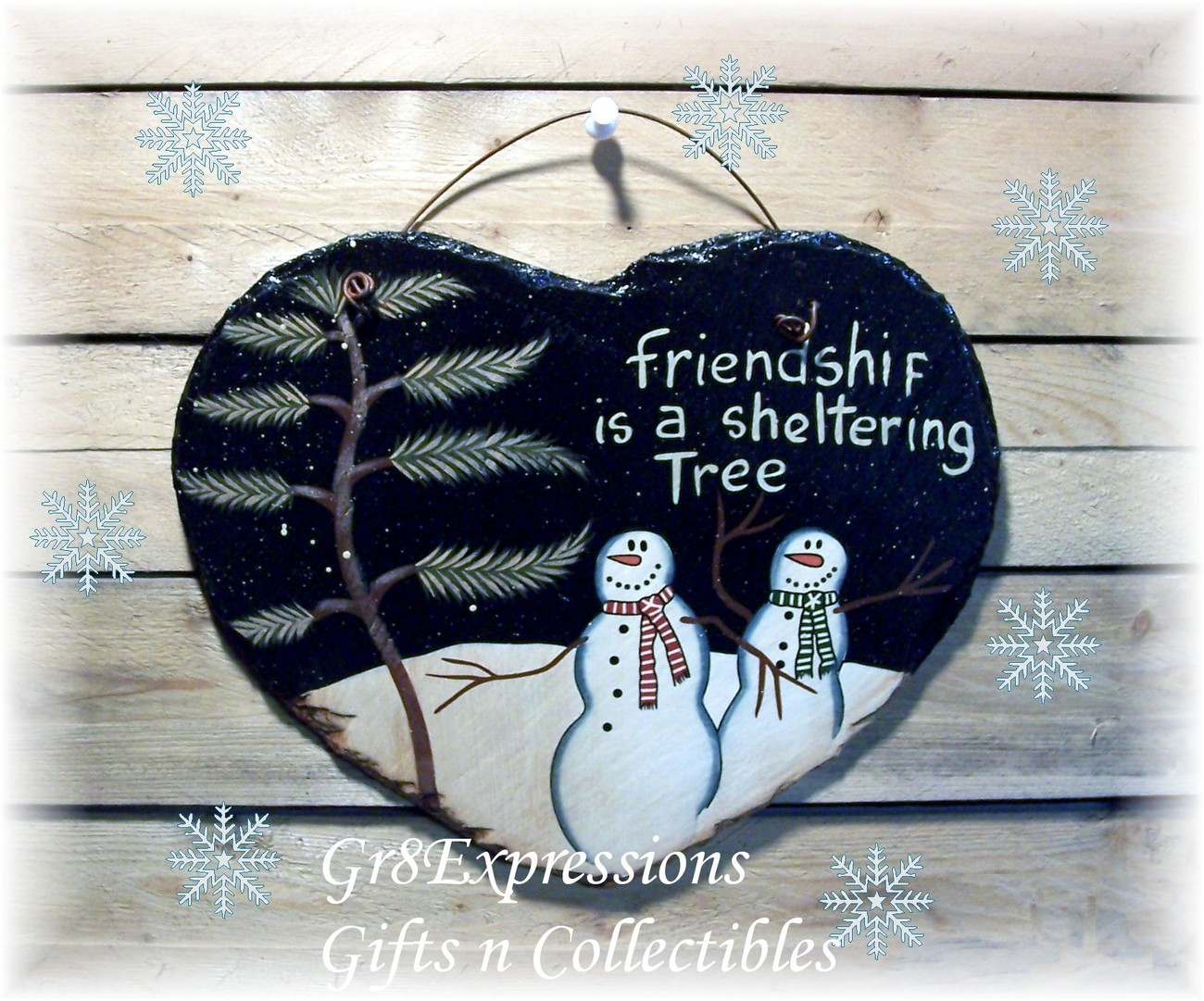 Snowmen heart slate plaque