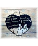 "PRiMiTiVe SNOWMAN ""FRIENDSHIP TREE"" Slate Wall Plaque - $14.95"